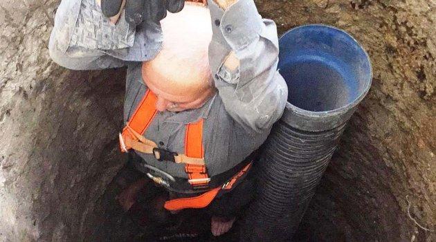 Düştüğü su kuyusundan itfaiye kurtardı