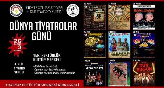 """Kırklareli'nde Dünya Tiyatrolar Günü """"Tiyatro Şenliği"""" İle Kutlanacak"""